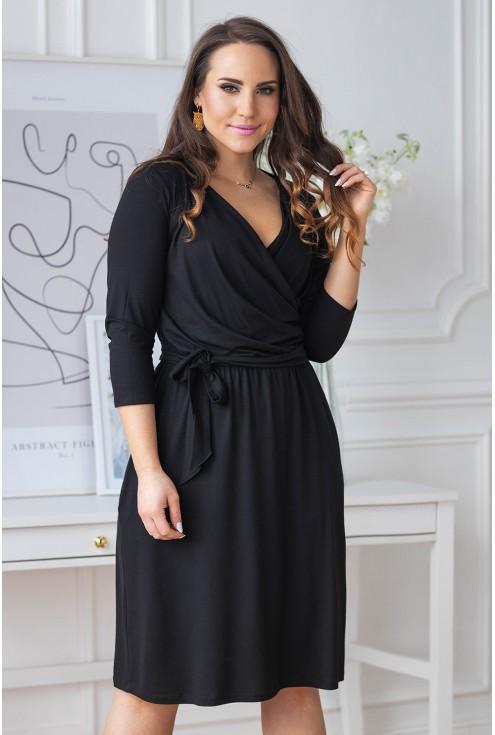 czarna sukienka kopertowy dekolt lucinne xxl