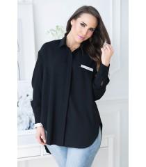 Czarna koszula z zaokrąglonym dołem - FLAVIA