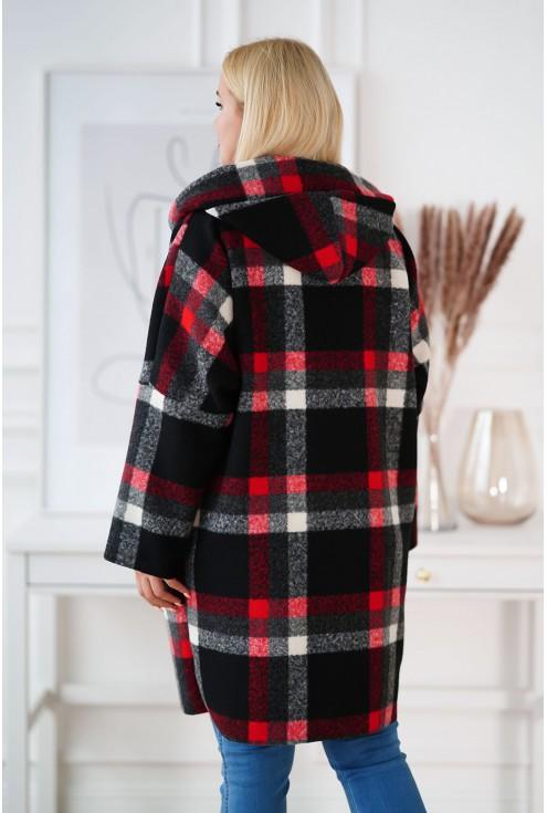 tył oversizowego płaszcza Lindy w kratkę