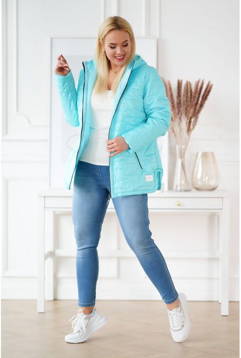 Jasnoturkusowa pikowana kurtka