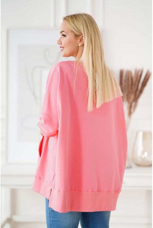 Camisa różowa bluza plus size