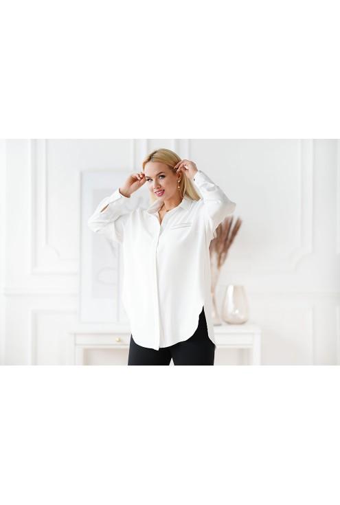 biała koszula plus size z kołnierzem