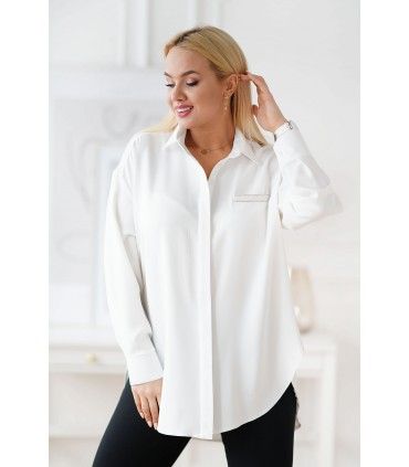 Biała koszula z zaokrąglonym dołem - FLAVIA