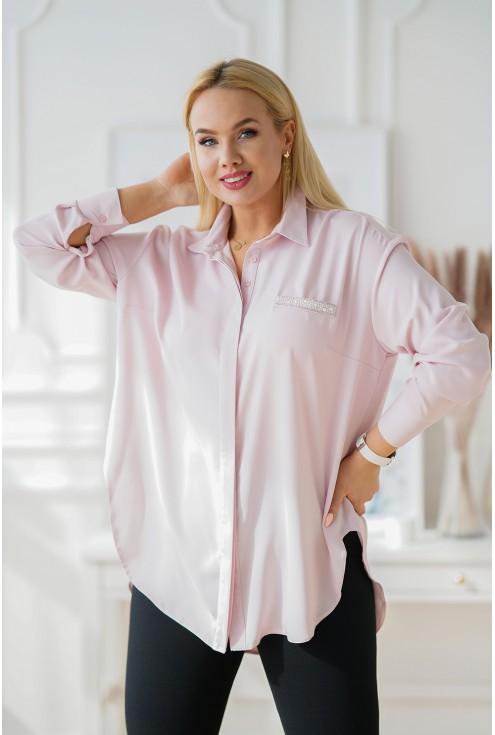 Jasnoróżowa koszula z zaokrąglonym dołem - FLAVIA