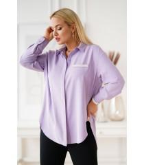 Liliowa koszula z zaokrąglonym dołem - FLAVIA
