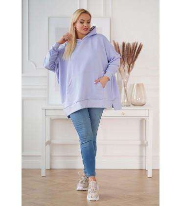 Liliowa bluza z kapturem w kwiaty - KEILA