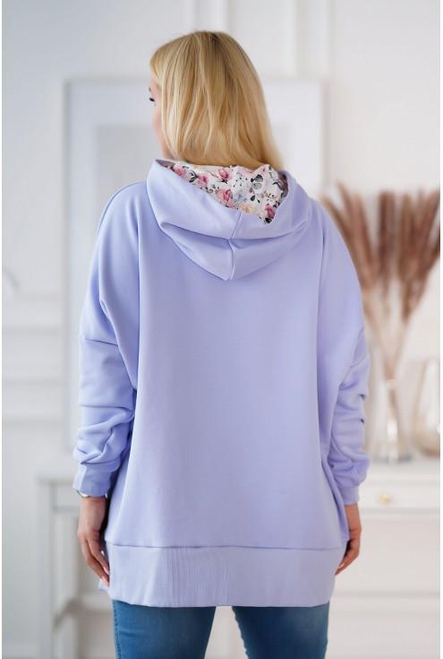 bluza z kapturem liliowa