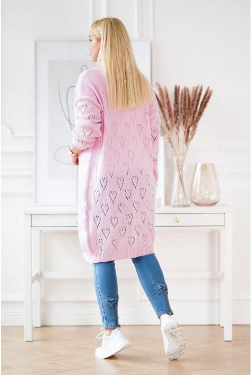 Długi różowy kardigan plus size