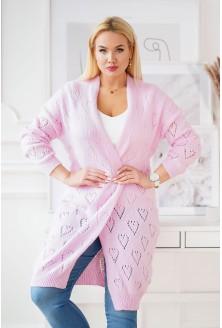 różowy kardigan plus size