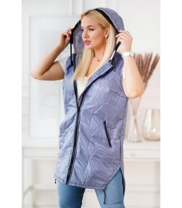 Kamizelka plus size w kolorze jeansowym z ozdobnymi taśmami - TATIANA