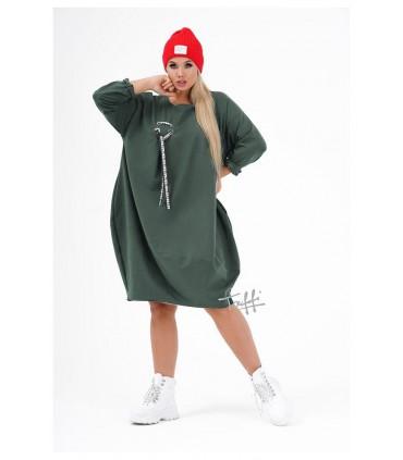 Khaki sukienka oversize z ozdobną wstążką - AJANA