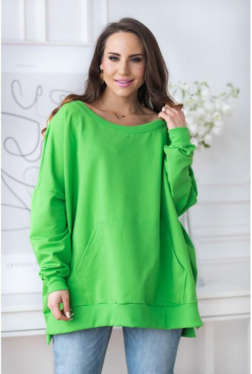 zielona bluza oversize bez kaptura