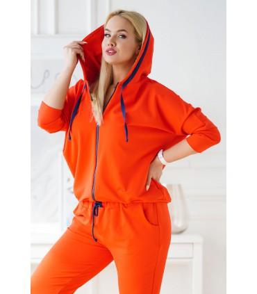 Pomarańczowy dres plus size z rozpinaną bluzą - zestaw - COURTNEY