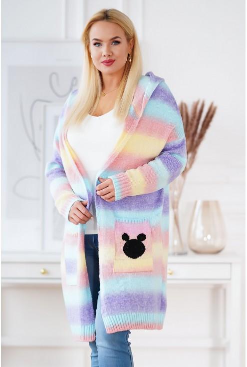 fioletowo-różowy sweter ombre xlka