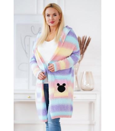 Fioletowo-niebiesko-różowy sweter ombre z kapturem - VIVA