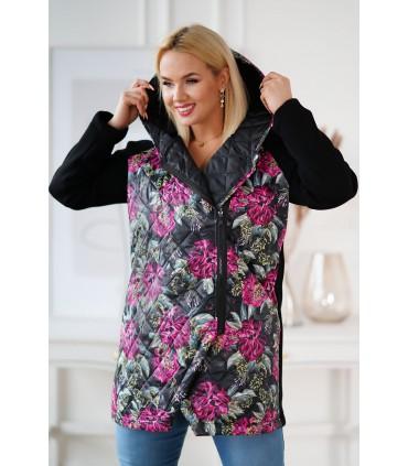 Czarna bluza-kurtka z kapturem - kolorowe liście - SISSY