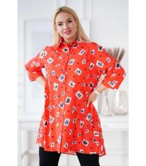 Pomarańczowa koszula tunika plus size z wzorem - ROSALIE