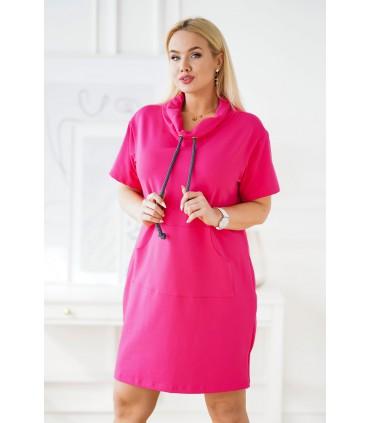 Amarantowa sukienka dresowa z troczkami plus size - NATIA