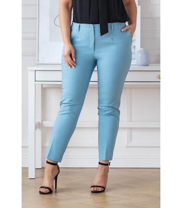 Niebieskie eleganckie spodnie 3/4 w kant - PERRA