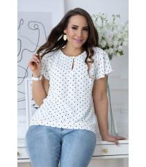 Biała elegancka bluzka w czarne kropki - SELBI