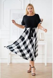czarna sukienka XXL w kratkę