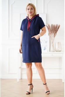 granatowa sukienka z krótkim rękawem