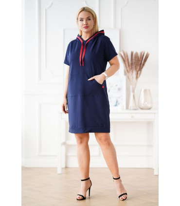Granatowa sukienka dresowa z krótkim rękawem - MARTINA
