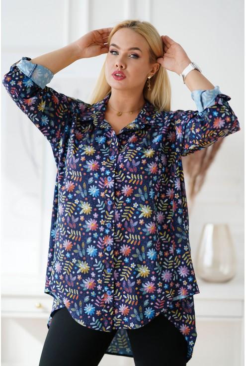 Granatowa koszula w kolorowe kwiaty
