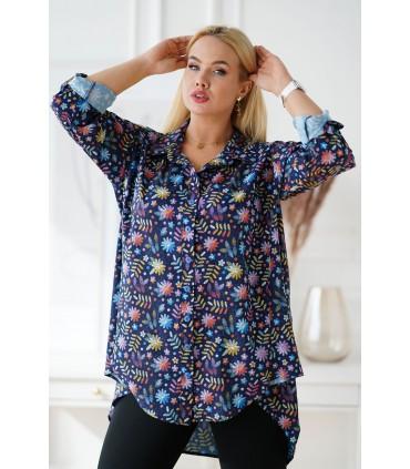 Granatowa koszula w kolorowe kwiaty z dłuższym tyłem - MOLI