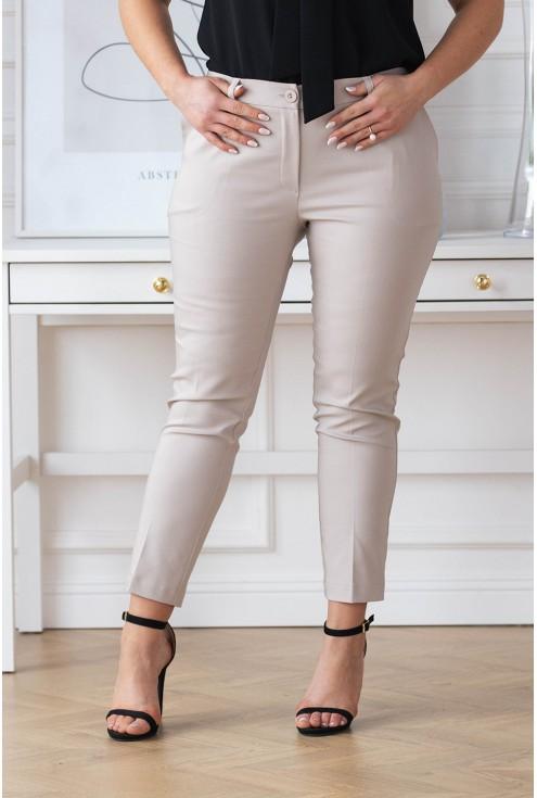 Beżowe eleganckie spodnie plus size
