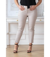 Beżowe eleganckie spodnie 3/4 w kant - PERRA