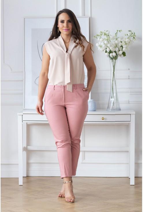 różówe eleganckie spodnie plus size