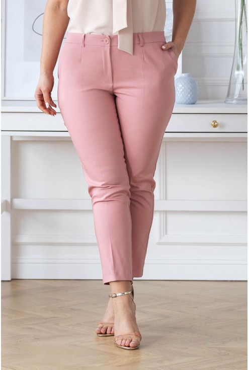 Pudrowe eleganckie spodnie Perra