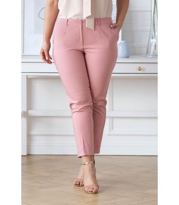 Pudrowe eleganckie spodnie 3/4 w kant - PERRA