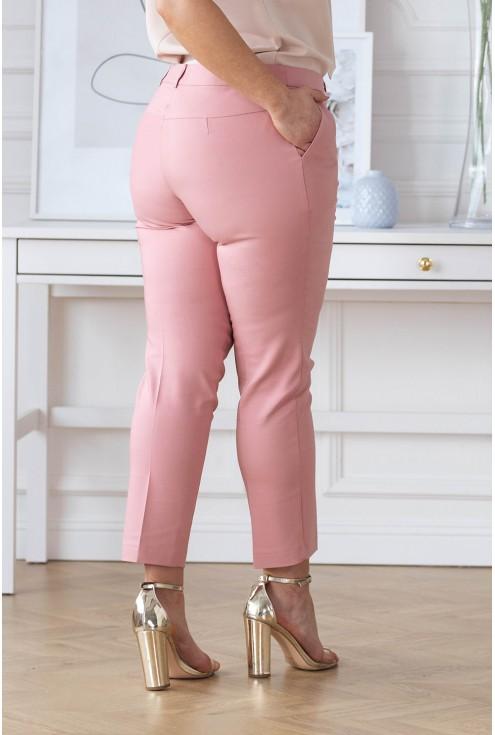 Pudrowe spodnie plus size 3/4 w kant