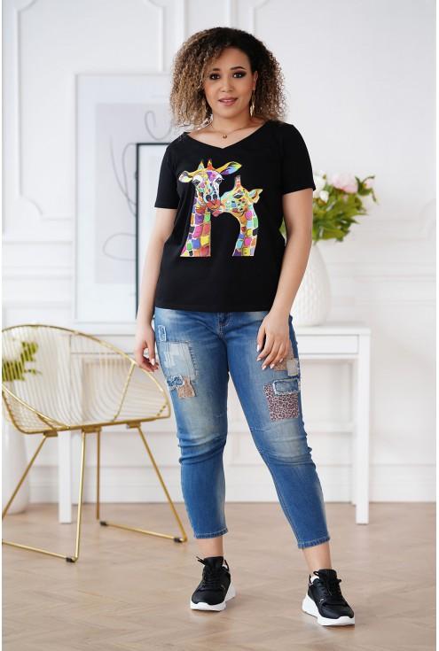 czarny t-shirt z żyrafami