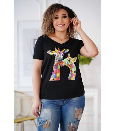 Czarny t-shirt z krótkim rękawem - wzór żyrafy - SASHA