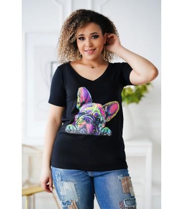 Czarny t-shirt plus size z krótkim rękawem - wzór pies - SASHA