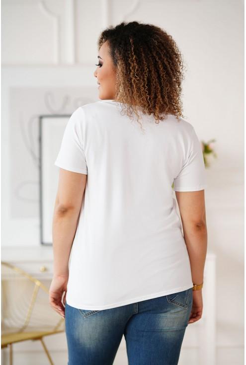 Biały t-shirt wzór pies