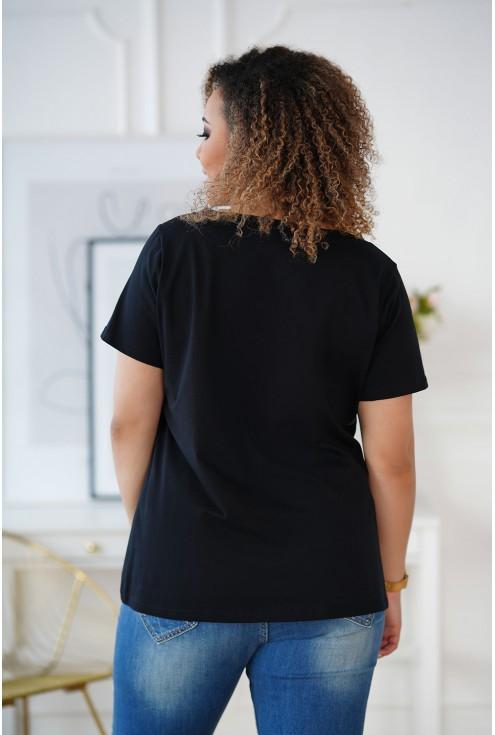 czarny t-shirt wzór żabka