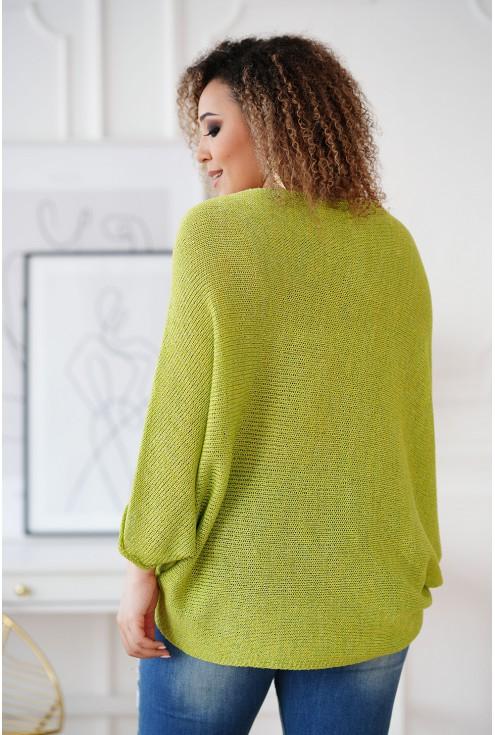 Limonkowy sweterek z obniżoną linią ramion