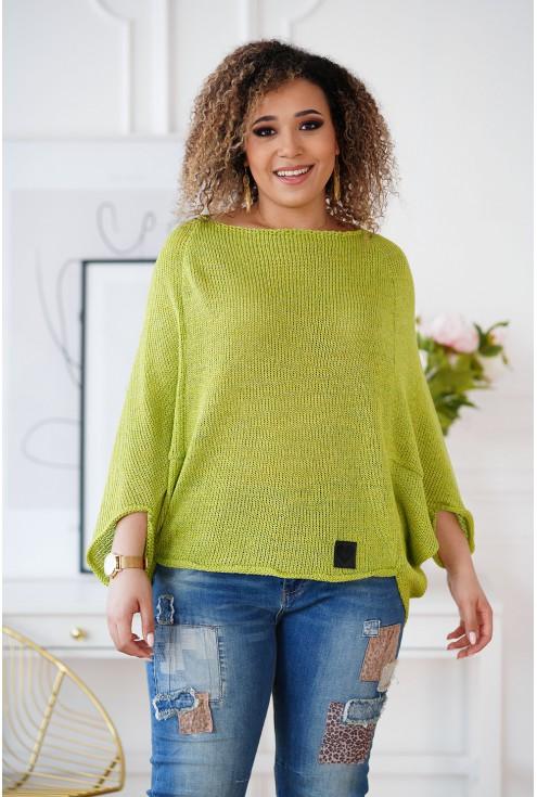 Limonkowy sweterek plus size Camila