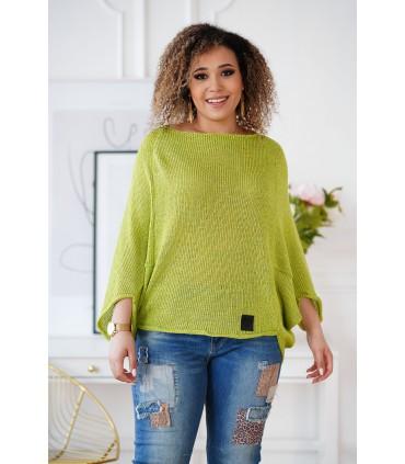 Limonkowy sweterek z obniżoną linią ramion - Camila