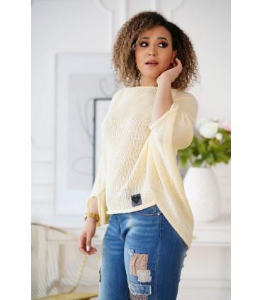 Cytrynowy sweterek z obniżoną linią ramion - Camila