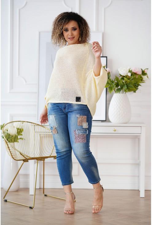 modny sweter XXL cytrynowy
