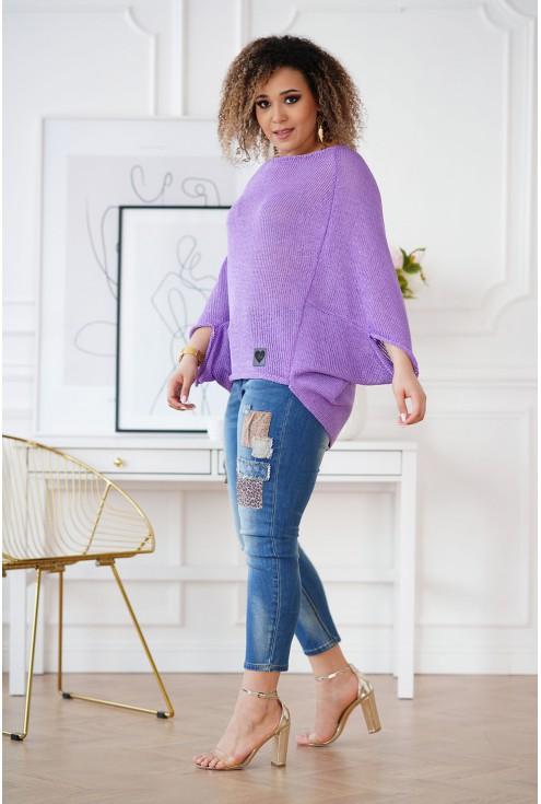 fioletowy sweter w dużych rozmiarach