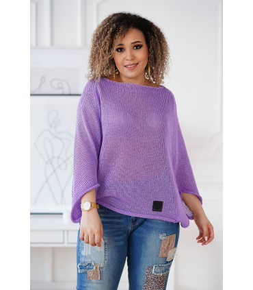 Fioletowy sweterek z obniżoną linią ramion - Camila