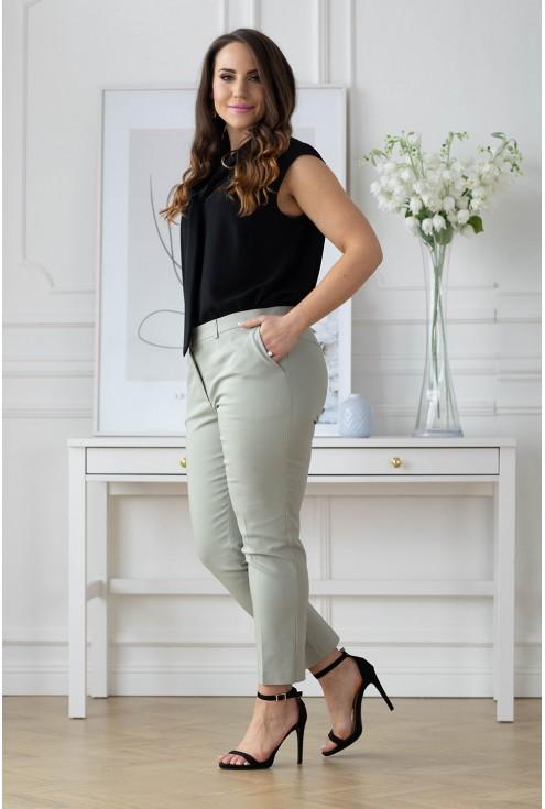 Oliwkowe eleganckie spodnie 3/4 w kant