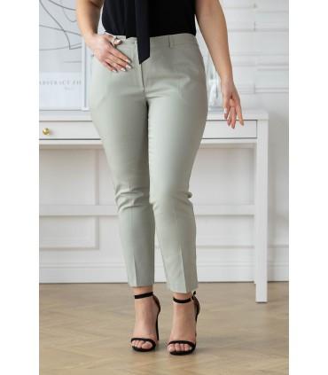 Oliwkowe eleganckie spodnie 3/4 w kant - PERRA