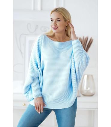 Błękitny sweterek z poziomym splotem - PEYTON